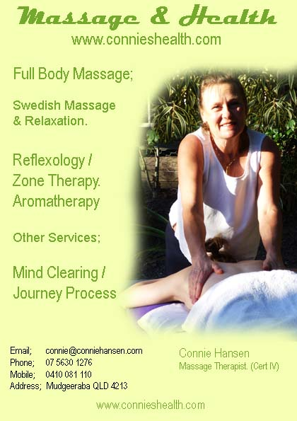 Connie Massage Service, Swedish Massage, Hot Rock Massage, Zone Therapy, Reflexology.